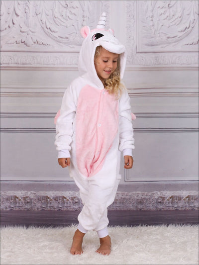 Kids Onesie Unicorn Hooded Pajamas (Black & Pink) - light pink / 2T - Girls Pajama