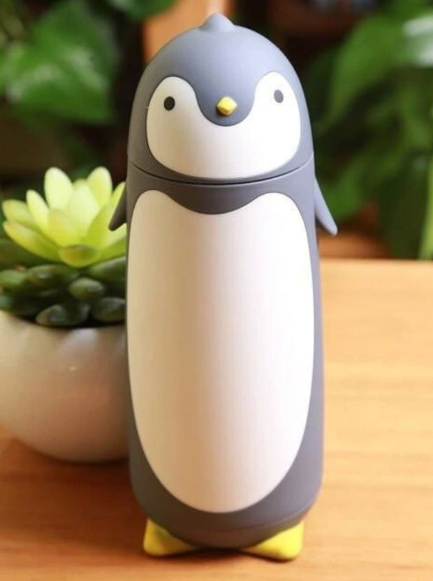 Kids Penguin Stainless Steel Insulated Water Bottle - Grey / 280ML - Girls Lunchbox
