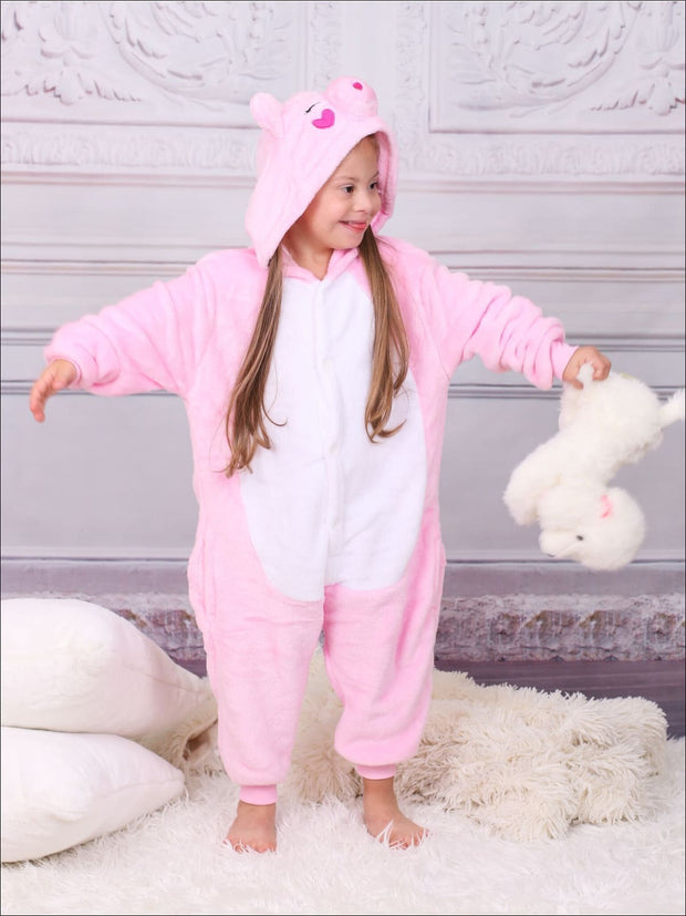 Kids Pink Piggy Hooded Onesie Pajamas - Girls Pajama