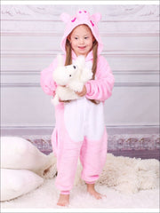 Kids Pink Piggy Hooded Onesie Pajamas - Pink Pig / 2T - Girls Pajama