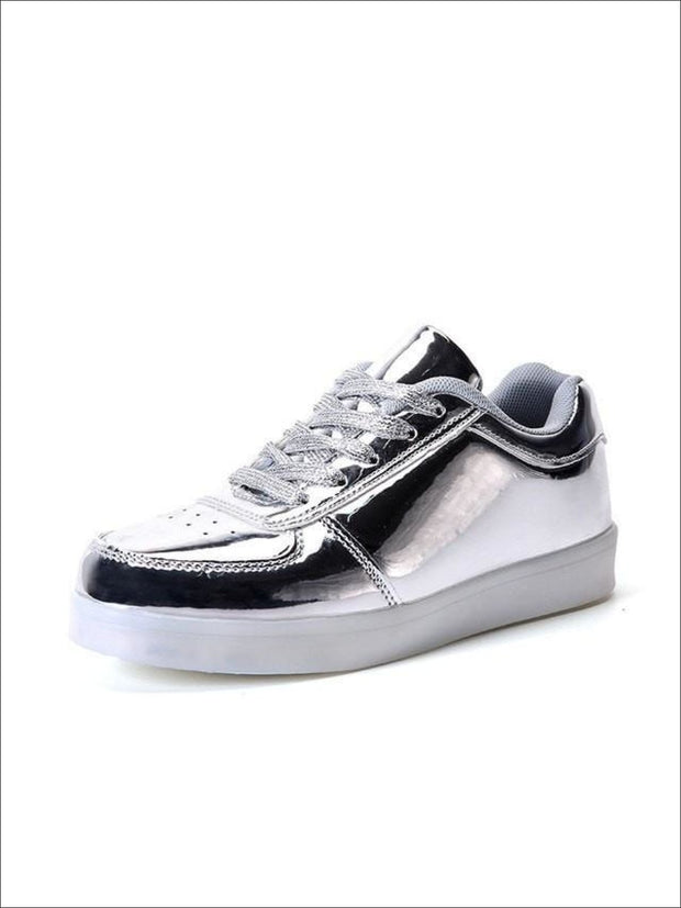 Kids Silver Rechargeable LED Lace Up Sneakers - Kids LED Sneakers