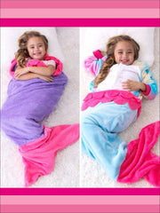 Kids Snuggle & Plush Mermaid Blanket (3 Colors) - Blue/Pink / 124cm x 104cm - Girls Accessories
