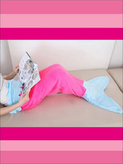 Kids Snuggle & Plush Mermaid Blanket (3 Colors) - Pink/Blue / 124cm x 104cm - Girls Accessories