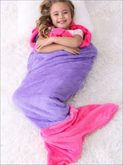 Kids Snuggle & Plush Mermaid Blanket (3 Colors) - Purple/Pink / 124cm x 104cm - Girls Accessories