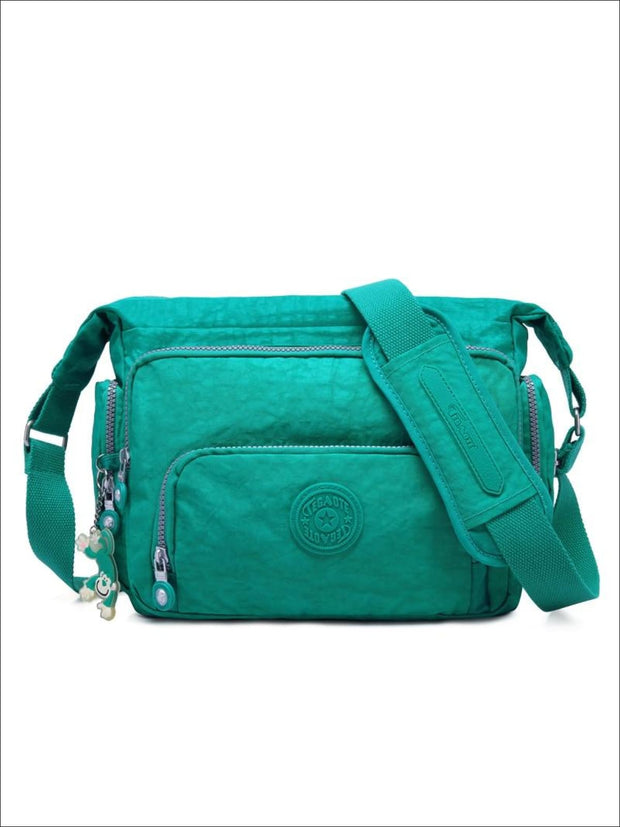 Kipling Inspired Nylon Shoulder Cross-Body Bag - Aqua / 31cmX28cmX11cm - Girls Backpacks
