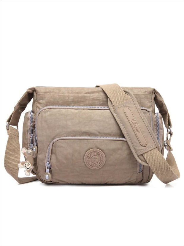 Kipling Inspired Nylon Shoulder Cross-Body Bag - Beige / 31cmX28cmX11cm - Girls Backpacks