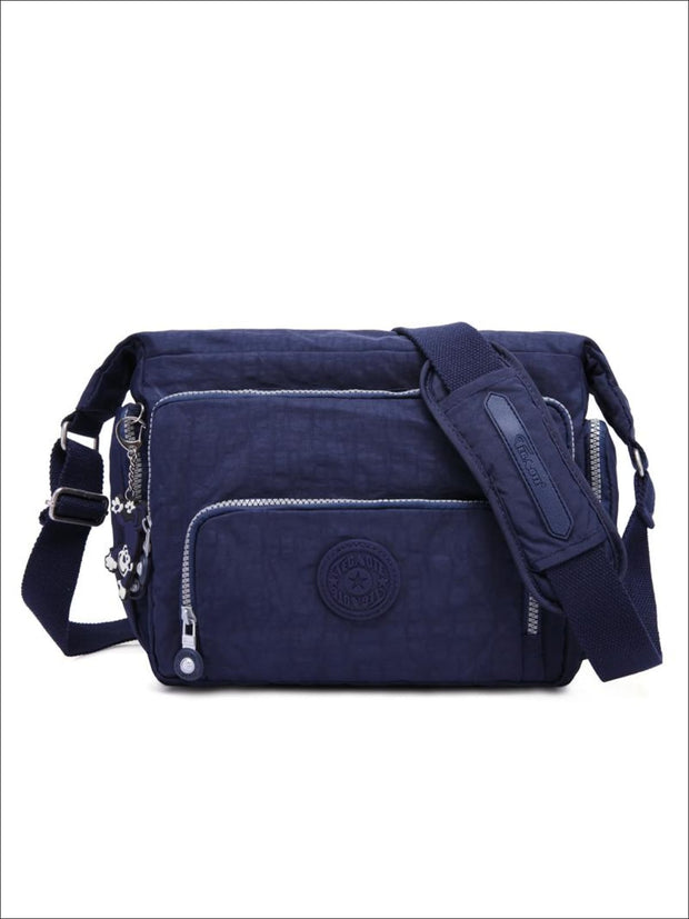 Kipling Inspired Nylon Shoulder Cross-Body Bag - Blue / 31cmX28cmX11cm - Girls Backpacks