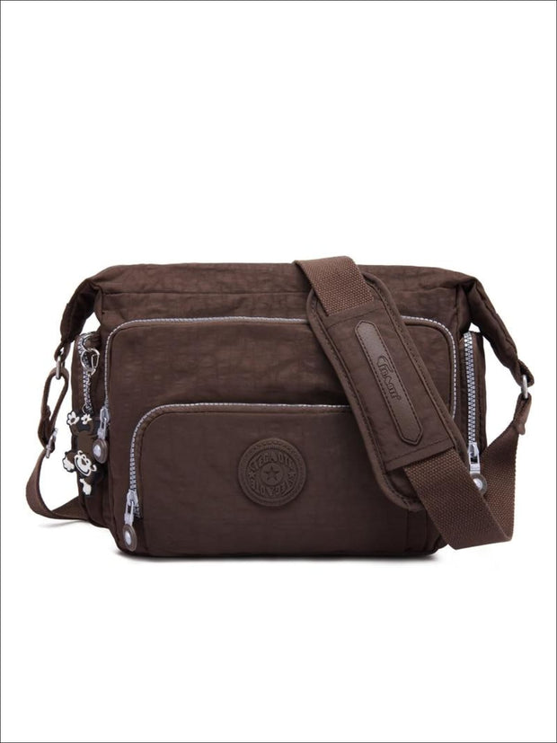 Kipling Inspired Nylon Shoulder Cross-Body Bag - Brown / 31cmX28cmX11cm - Girls Backpacks
