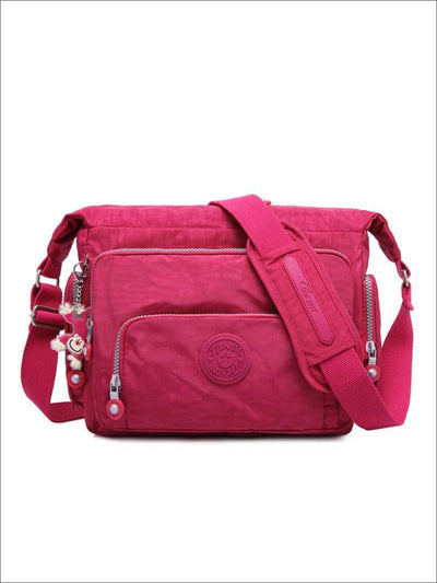 Kipling Inspired Nylon Shoulder Cross-Body Bag - Pink / 31cmX28cmX11cm - Girls Backpacks