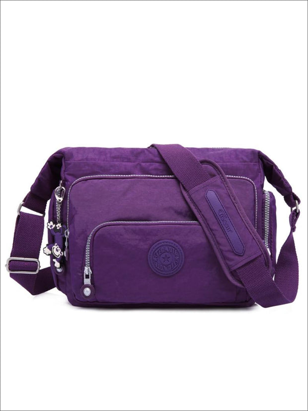 Kipling Inspired Nylon Shoulder Cross-Body Bag - Purple / 31cmX28cmX11cm - Girls Backpacks