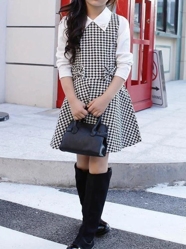 Girls Preppy Long Sleeve Bow Tie Houndstooth A-Line Dress
