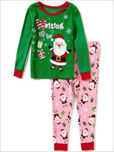 Komar Kids Waiting Up For Santa Toddler Girls 2 Piece Pajama Set - Girls Pajama