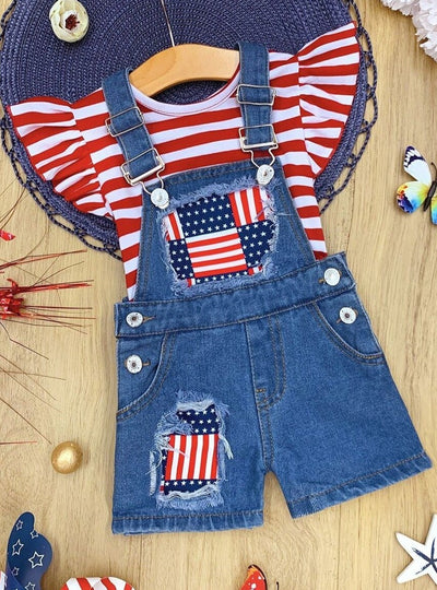 Girls Patriotic Striped Ruffled Top and Flag Denim Overall Set
