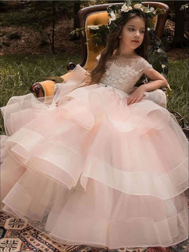Lace Applique Flower Girl or Pageant Tiered Party Dress - Girls Gowns