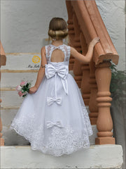 Lace Flower Girl Dress With Bow - Flower Girls Dress
