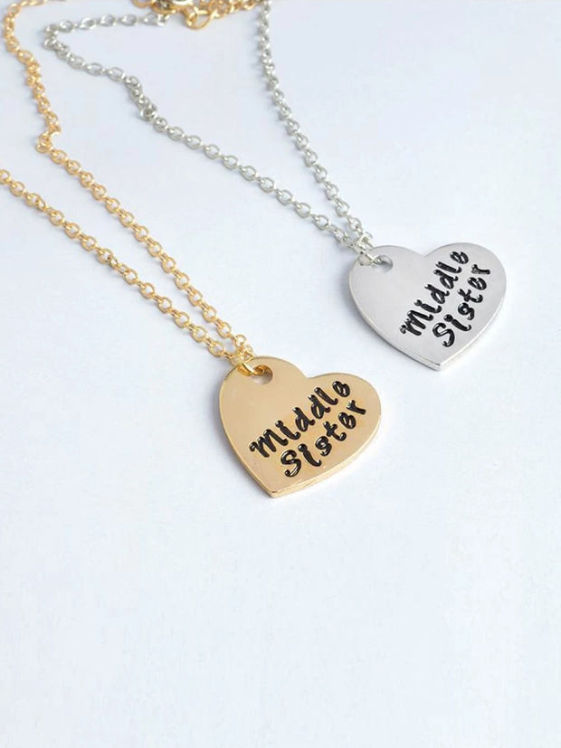 Little Sister, Big Sister, & Middle Sister Siblings Necklace Set