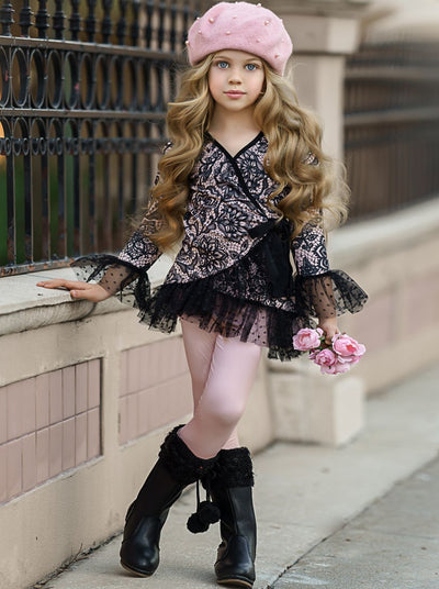 Girls Flared Long Sleeve Printed Ruffled Wrap Tunic and Matching Leggings Set