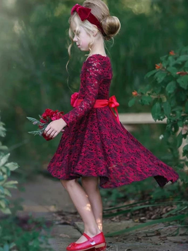 Girls Je t'Aime Dress with Satin Flower Sash