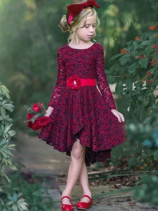 Girls A-Line Long Sleeve Lace Twirl Dress with Satin Flower Sash