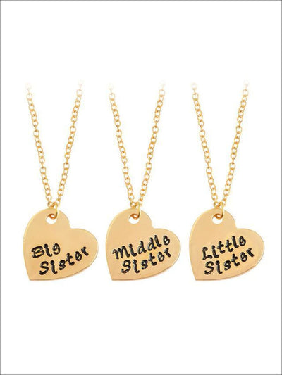 Little Sister Big Sister & Middle Sister Siblings Necklace Set - Gold / gold / 45+5cm - Siblings Necklace
