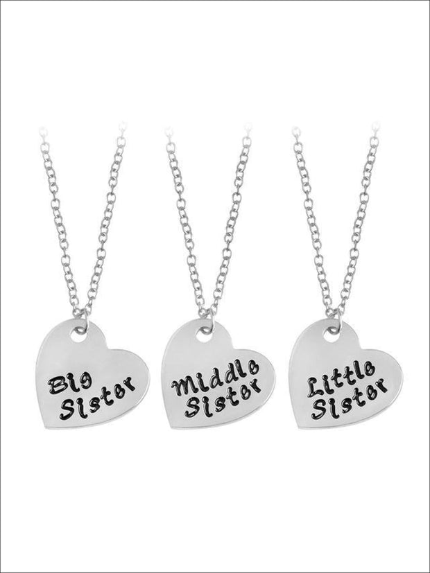 Little Sister Big Sister & Middle Sister Siblings Necklace Set - Gold / silver / 45+5cm - Siblings Necklace