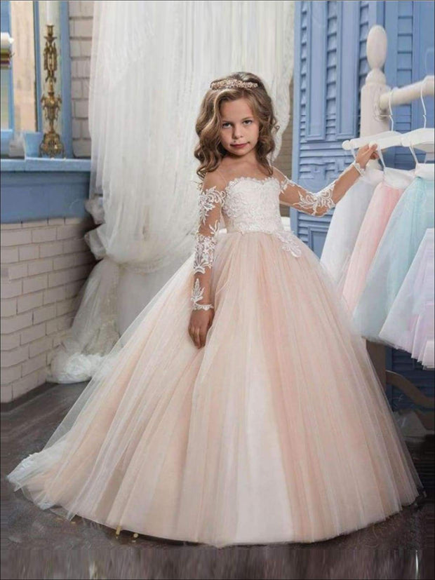 Long Sleeve Champagne Puffy Lace Flower Girl Dress - Champagne / 3T - Flower Girl Dress