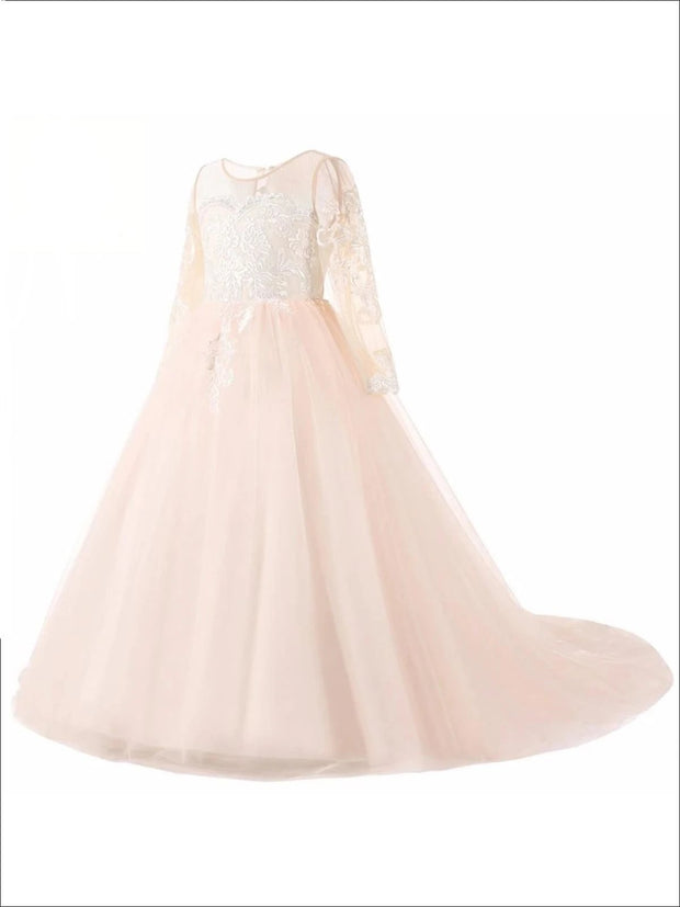 Long Sleeve Champagne Puffy Lace Flower Girl Dress - Flower Girl Dress