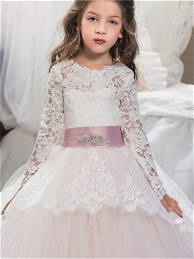 Long Sleeve Flower Girl Dress with Crystal Applique Belt - Girls Gowns