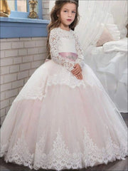 Long Sleeve Flower Girl Dress with Crystal Applique Belt - White / 3T - Girls Gowns