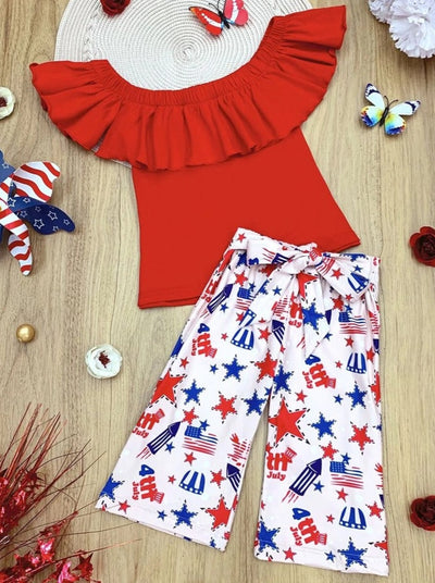 Girls Patriotic Ruffled Top and Sashed Cropped Pants Set