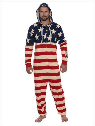Mens American Flag Hooded Union Suit USA Pajama Costume Onesie Pajama