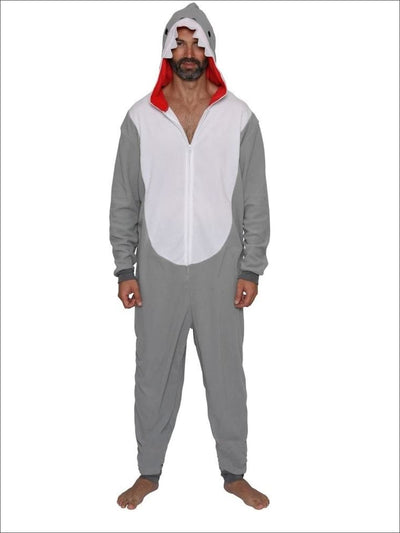 Mens Daddy Shark Union Suit Onesie Pajama Costume - L/XL / Grey