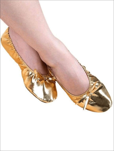 Metallic Gold Belly Dance Genie Costume Shoes - Girls Halloween Costume