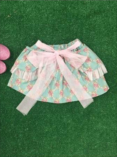 Mint Floral Bow Tie Skirt - Girls Skirt