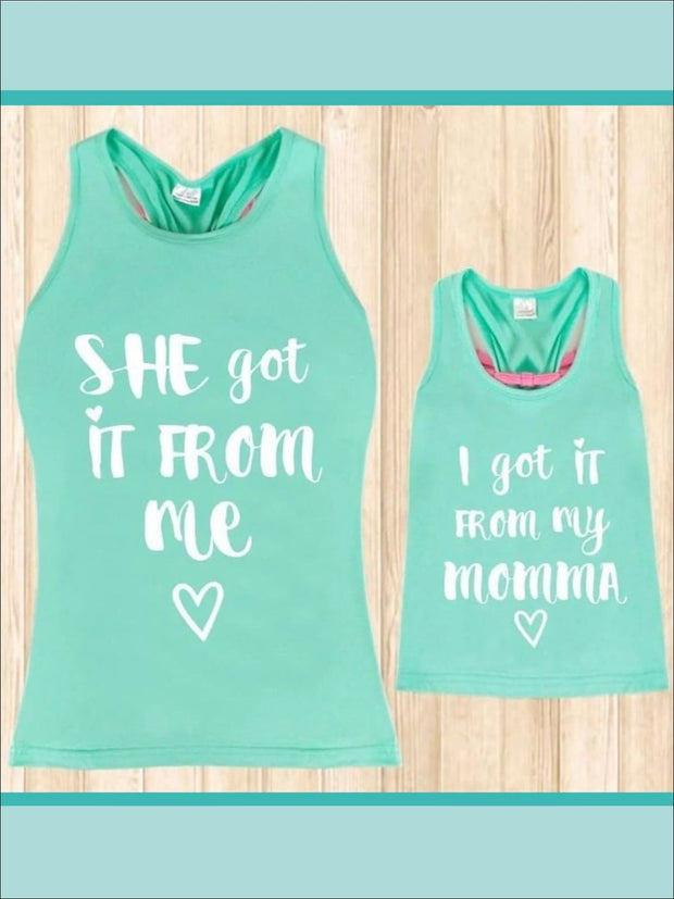Mint Mommy & Me I Got It From My Mama Graphic Tank Top - 2T-3T / Mint - Mommy & Me Top