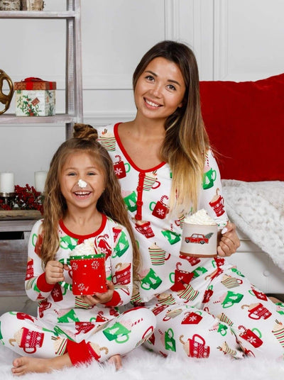 Mommy and Me Christmas Mugs Button Pajama Set - Mommy & Me Pajamas