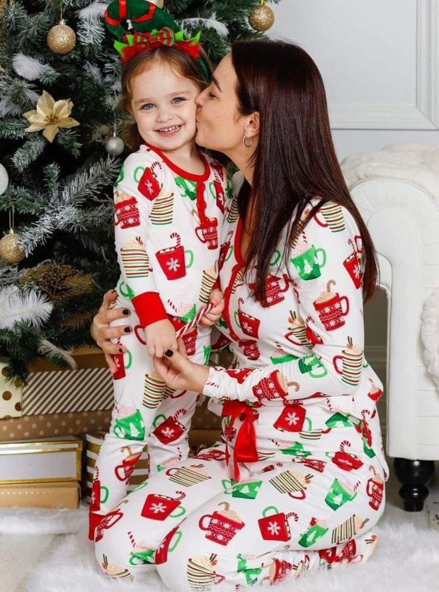 Mommy and Me Christmas Mugs Button Pajama Set - White / 2T/3T - Mommy & Me Pajamas
