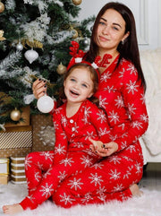 Mommy and Me Christmas Snowflake Button Pajama Set - Mommy & Me Pajamas