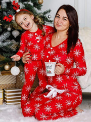 Mommy and Me Christmas Snowflake Button Pajama Set - Red / 2T/3T - Mommy & Me Pajamas