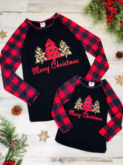 Mommy and Me Merry Christmas Plaid Tree Top - Black / 2T - Mommy & Me Top