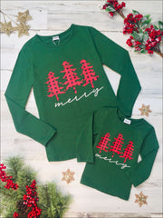 Mommy and Me Merry Plaid Christmas Tree Top - Green / 2T - Mommy & Me Top