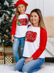 Mommy and Me Plaid Merry Christmas Lace Top - Mommy & Me Top