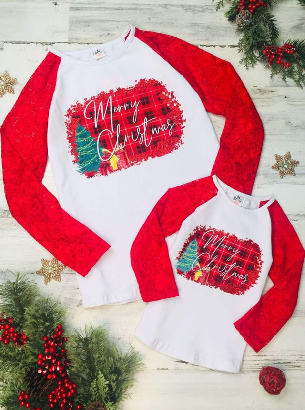 Mommy and Me Plaid Merry Christmas Lace Top - Red / 2T - Mommy & Me Top