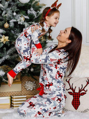 Mommy and Me Plaid Reindeer Button Pajama Set - Mommy & Me Pajamas