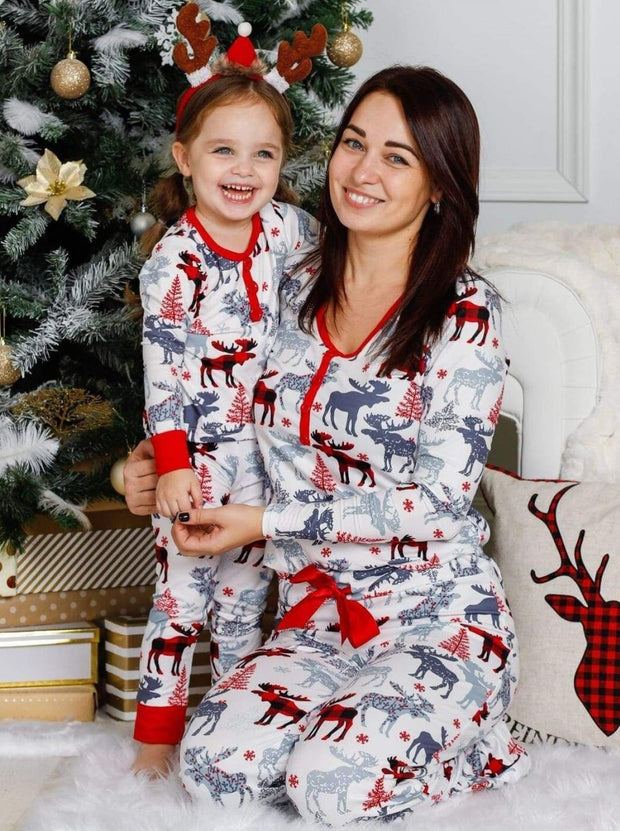 Mommy and Me Plaid Reindeer Button Pajama Set - Grey / 2T/3T - Mommy & Me Pajamas