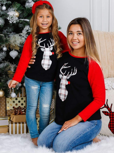 Mommy and Me Plaid Rudolph Reindeer Top - Mommy & Me Top