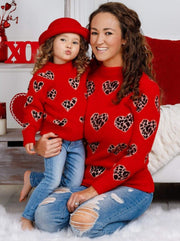 Mommy and Me Red Leopard Heart Sweater - Mommy & Me Sweater