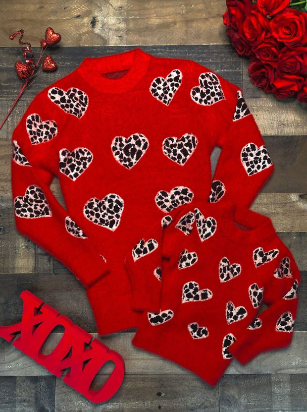 Mommy and Me Red Leopard Heart Sweater - 2T / Red - Mommy & Me Sweater