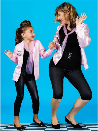 Mommy and Me Retro Pink Ladies Jacket & Leggings Halloween Costume - Mommy & Me Costume