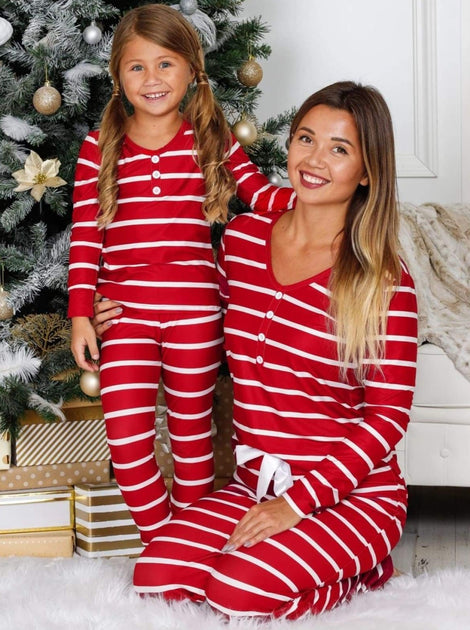 Mommy and Me Striped Christmas Themed Button Pajama Set ...